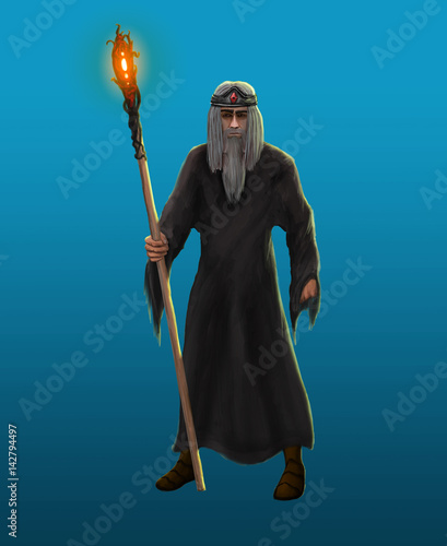 An old gray-haired sorcerer - 142794497