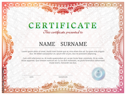 Certificate Template With Guilloche Elements Red Diploma Border