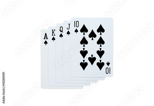Poster Poker spades of 10 J Q K A playing cards isolated on white background