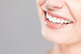 Beautiful smile young woman. White teeth on the master plan. - 142801075