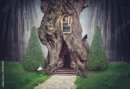 casa-del-arbol-de-hadas-en-el-bosque-oscuro-de-fantasia