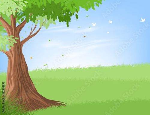 Beautiful tree and landscape vector nature background