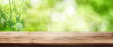 Fototapety Radiant green spring background with wooden table