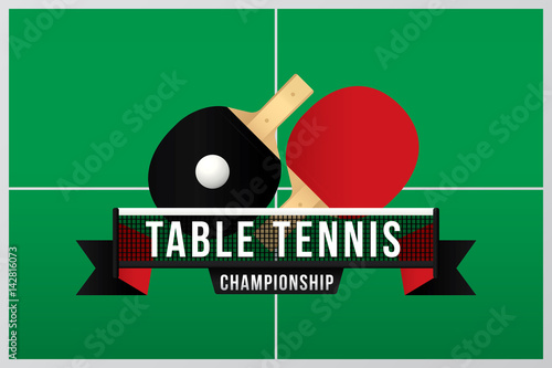 Table tennis championship badge design with green table and net.