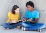 Afrikanischer Student mit deutscher Freundin beim Lernen - 142819620