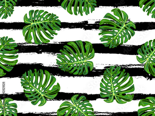 Materiał do szycia Seamless tropical pattern with monstera leaves vector background. Perfect for wallpapers, pattern fills, web page backgrounds, surface textures, textile