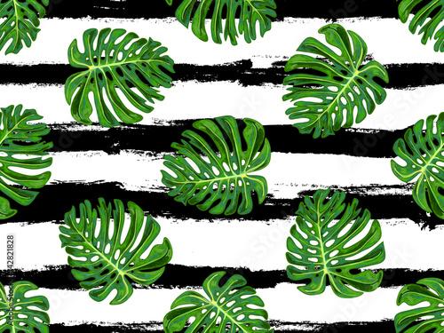 Materiał do szycia Tropikalny wzór z monstera pozostawia tło wektor. Idealny do Tapety, tła strony sieci web i tekstury powierzchni, deseniem włókienniczych