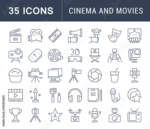 Set Vector Flat Line Icons Cinema and Movies