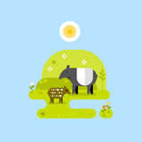 Tapirs with tropical background. Vector flat illustration
