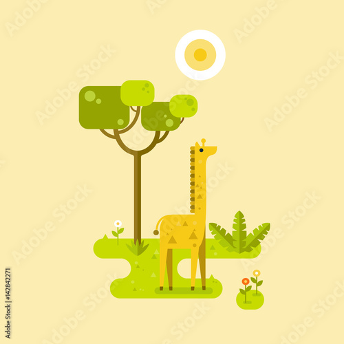 Plexiglas Zoo Tapirs with tropical background. Vector flat illustration