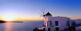 Windmill in Oia, Santorini, at sunset
