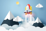 Paper art of space shuttle launch to the sky, start up business concept and exploration idea
