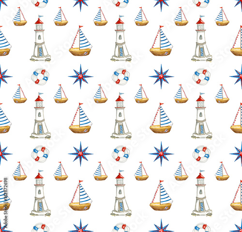 Staande foto Kunstmatig Watercolor seamless nautical pattern. Hand drawn cartoon background with sea elements: a boat, lighthouse, lifebuoy, Rose of Wind, blue stripes and frame on white background.