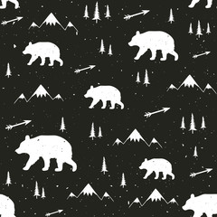 Vector illustration with stylish cartoon seamless pattern. Bear, pine trees, arrows and mountains.