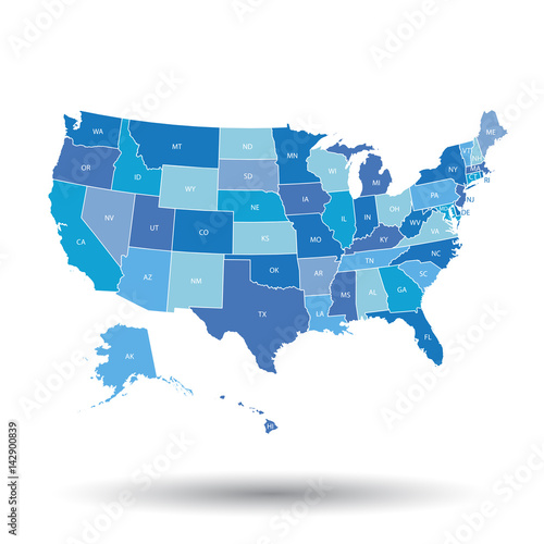 Fototapeta High detailed USA map with federal states. Vector illustration United states of America in blue color.