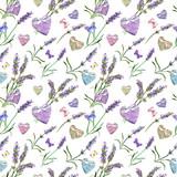 Lavender flowers, hearts, butterflies. Seamless pattern. Watercolor - 142904004