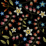 Beautiful spring flowers on black background. Classical embroidery fashionable template for design of clothes. Cornflowers embroidery seamless pattern - 142906226