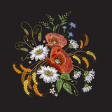Camomiles and roses embroidery. Beautiful bouquet of chamomiles, roses. Classic embroidery pattern for clothes - 142906232