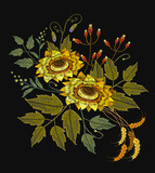 Embroidery sunflowers, flowers, wheat. Beautiful bouquet sunflowers embroidery template for clothes - 142906264