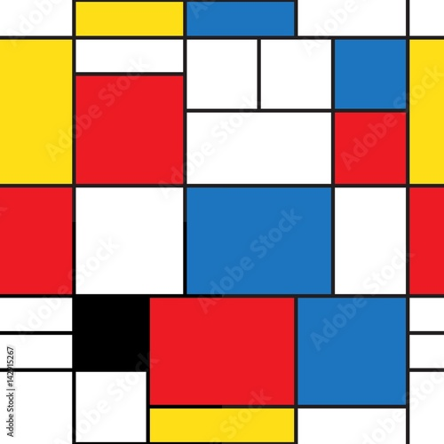 Fototapeta Seamless pattern. Colorful background in mondrian style. Vector illustration. Abstract background of colored rectangles.