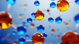 3d illustration of molecule model. Science background with molecules and atoms. - 142918050