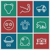 Set of 9 cartoon outline icons