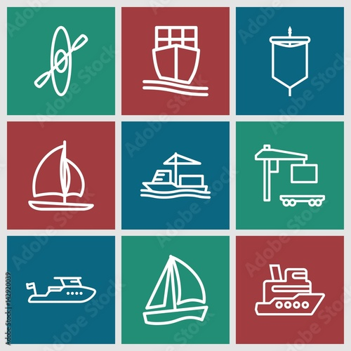 Set of 9 boat outline icons