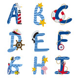 alphabet nautical from A to I - vector illustration, eps