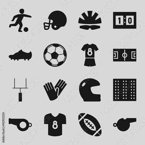 Set of 16 football filled icons