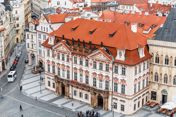 Rococo Palace of Kinsky with the National Gallery in the Old Town Square in Prague