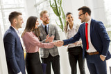 Business partners handshaking after making agreement with employees near by - 142942066