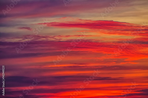 Red beautiful clouds at dawn, sunset. Nature background