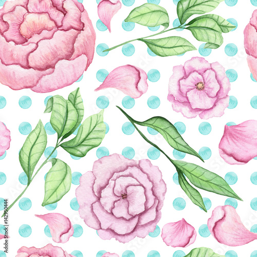Seamless Pattern of Watercolor Flowers, Petals and Leaves on Dotted Background - 142950444