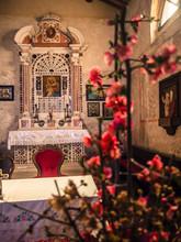 "Постер, картина, фотообои ""Altar of the votive church of Saint Mary of the Alzana, famous for the many unexplained healings."""
