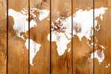 Antique wood wall with World map graffiti