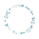 Wreath of a bluebell, grass, and flowers. Garland of a meadow herbs.Watercolor hand drawn illustration.