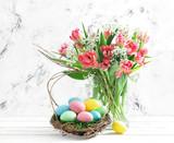 Fototapeta Easter eggs pink tulips Spring flowers