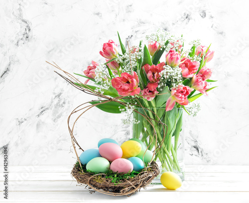 Easter eggs pink tulips Spring flowers