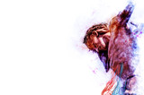 Jesus Christ on the cross. Artistic abstract religious background illustration with copy space for text. - 142970012
