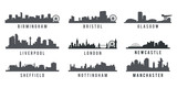 set of Great Britain big cities skyline silhouette