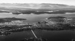 Seattle and Puget Sound from the air, monochrome