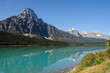 Rocky Mountains reflecting in Waterfowl Lake, Alberta, Canada. Icefields Parkway, Banff National Park.