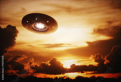 Aluminium UFO 3D illustration with photography. Alien spaceship under the sunset.