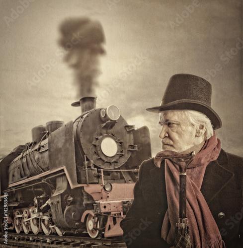 Top hat - vintage portrait of a senior on train Poster
