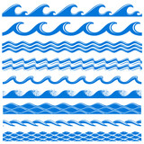 Sea water waves vector seamless borders set