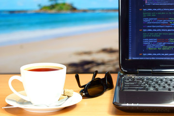 Freelancer work place on the beach in hot country