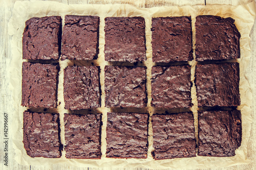 chocolate brownie, selective focus. Poster