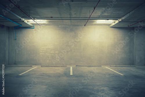 Parking garage department store interior with blank billboard Plakát