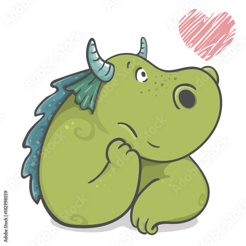 Unique cute cartoon dragon, isolated on white background. Fantasy children's illustration