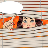 Fototapety Woman Looking Through the Blinds. Pop Art Vector retro illustration